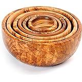 BeldiNest Hand Carved 6 Piece Olive Wood Nesting Bowls Set