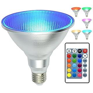 PAR38 Led Floodlight Bulb RGB Color Changing Light Bulb with Remote Control, Kuniwa Spotlight E26 20W Dimmable Light Bulb, IP65 Waterproof Light Screw