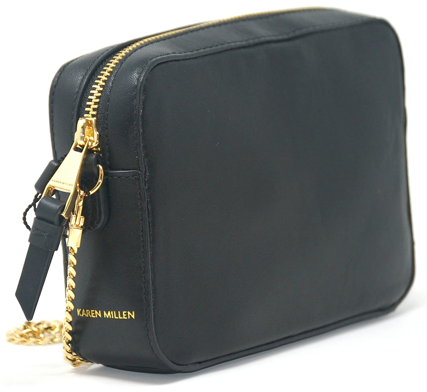 1f6d2b01fa Karen Millen Black Leather Across Body Bag with Gold Chain Strap:  Amazon.co.uk: Luggage