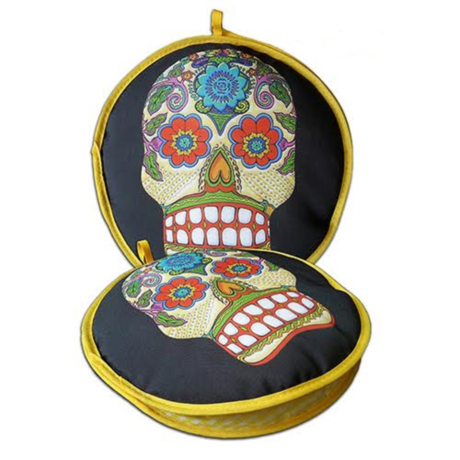 La Tortilla Oven Day of the Dead Insulated Tortilla Warmer & Microwave Vegetable Steamer, 10-Inch