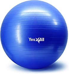 Yes4All Yoga Exercise Ball – Multi Sizes: 55cm / 65cm / 75cm – Anti Burst & Extra Thick – Support 2000 lbs