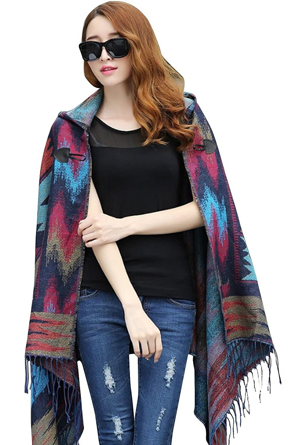 Forlisea Womens Bohemian Casual Collar Poncho Capes Shawl with hooded