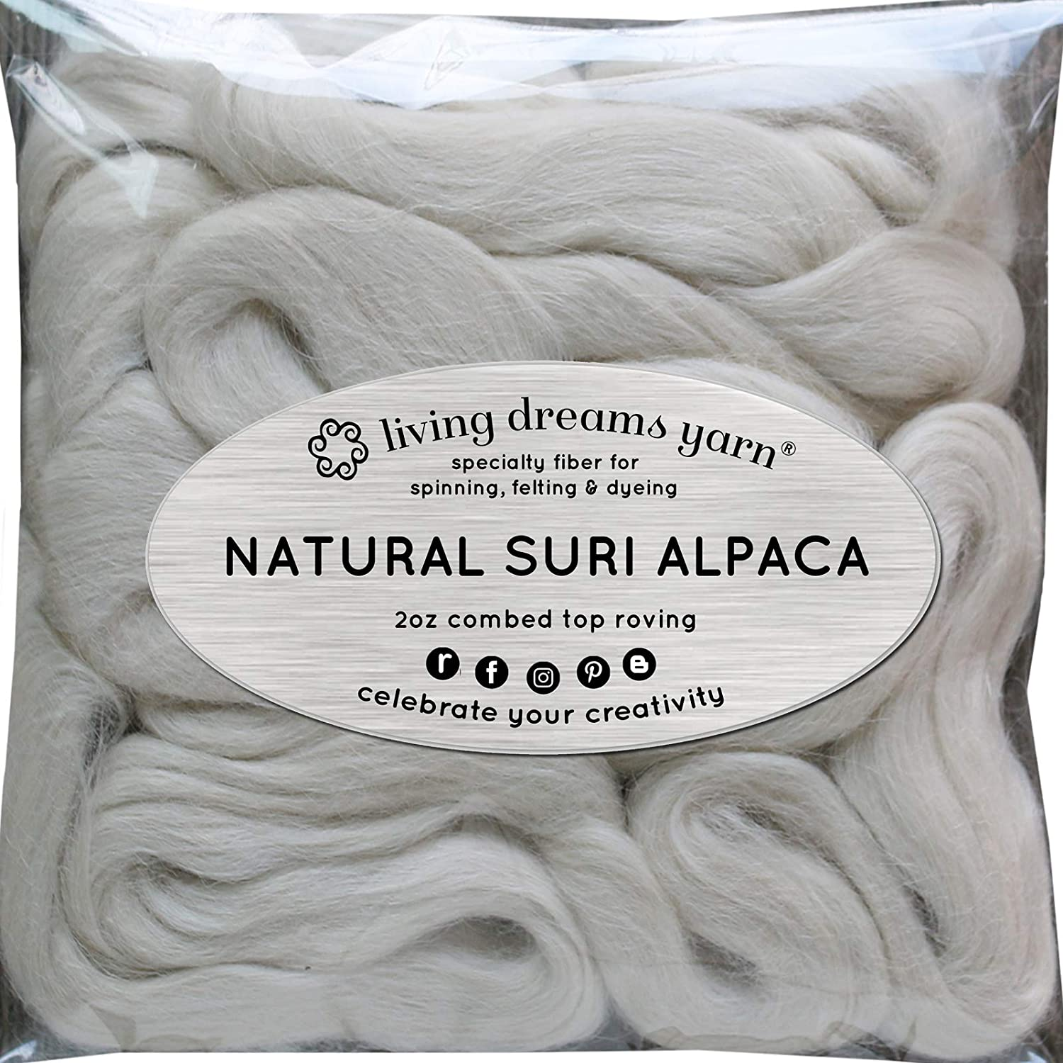 Suri Alpaca Fiber for Spinning Blending Felting Dyeing and Doll Making. Natural White Combed Top. Living Dreams Yarn GBFibSSuriAlpacaNat