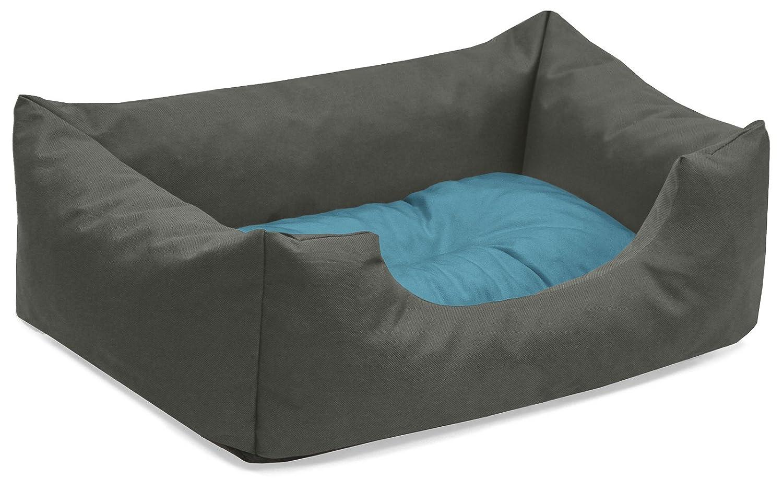 BedDog colchón para Perro Mimi S hasta XXXL, 26 Colores, Cama, sofá, Cesta para Perro, S Gris/Azul