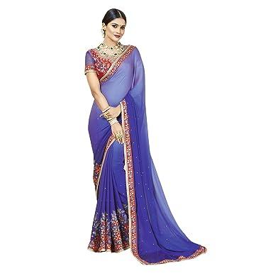 24eb99c32ca5 Takshaya Partywear Embroidered Royal Blue Georgette Chiffon Saree ...