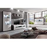 Lifestyle4living Wohnzimmerschrank, Wohnwand, Schrankwand, Anbauwand,  Fernsehwand, Wohnzimmerschrankwand, Wohnschrank, Weiß