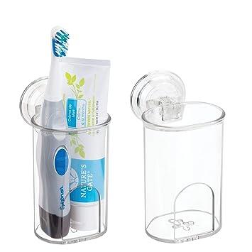 mDesign Juego de 2 portacepillos de dientes con ventosa – Soporte para cepillo de dientes y