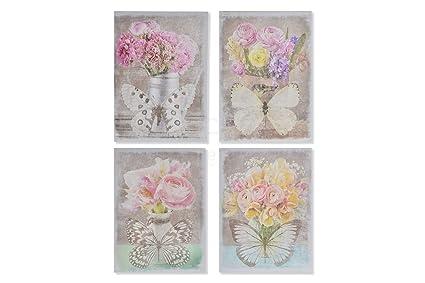 Drw Set De 4 Cuadros Lienzo De Flores Y Mariposas Tonos