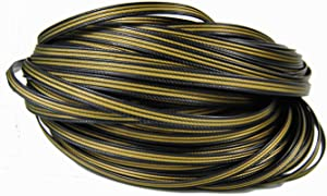 Rattan Material for Patio Furniture DIY and Repair,Luxury Gold Brass Graden Outdoor Vine High-strength Durable All-Weather Plastic Wicker with Texured Pattern n -1.1 lb 280ft- Retro Golden with Black