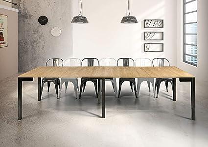 Milani Home S R L S Tavolo Da Pranzo Moderno Di Design A Consolle Cm 90 X 50 100 150 200 250 300 Struttura Nera Piano Naturale Per Sala Da Pranzo Amazon It Casa E Cucina
