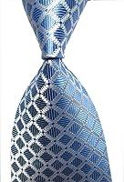 Secdtie Men's Classic Checks Light Blue White Jacquard Woven Silk Tie Necktie