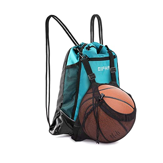 f923bcbb29b8 Elfhao Drawstring Backpack Bag Men & Women Sports Gym Sackpack Waterproof  Tote Bag Sports Sack Light Backpack Soccer Bag (Blue)
