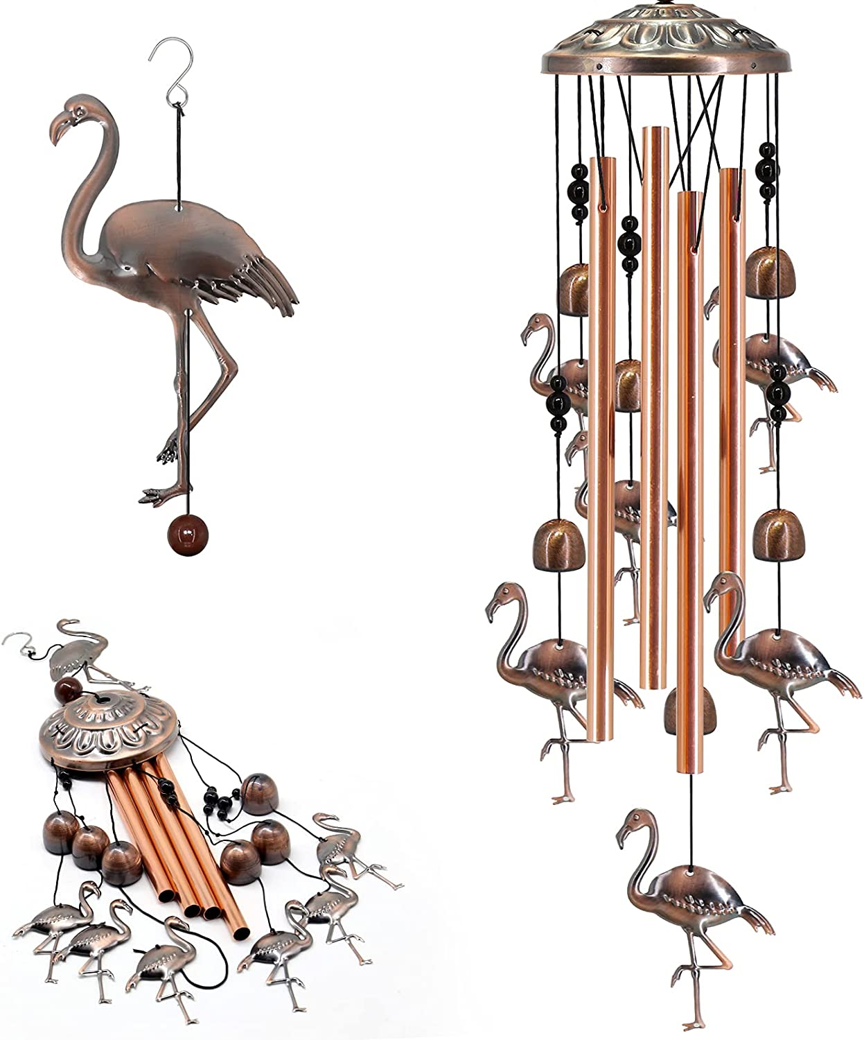 Wind Chimes for Outside, Bird Windchime Deep Tone with Metal Tubes & Hanging Hook Outdoor Decor for Garden Patio Porch Yard Backyard Memorial Wind Bell Best Gift for Loved Mom Grandma (Bronze)