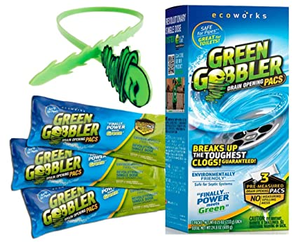 Green Gobbler Drain Opener Pacs for Drain and Toilet Clogs 3 Pac