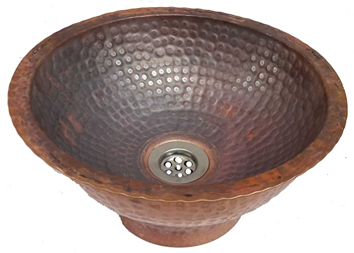 Egypt Gift Shops Rustic Fire Burnt Vessel Apron Tapered Skirted Copper Sink  Wash Basin Replacement