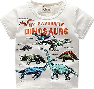 Webla Toddler Kids Baby Boys Short Sleeve Dinosaur Print Summer Tops T-Shirt Ages 1 to 6 Years (2-3T, White)