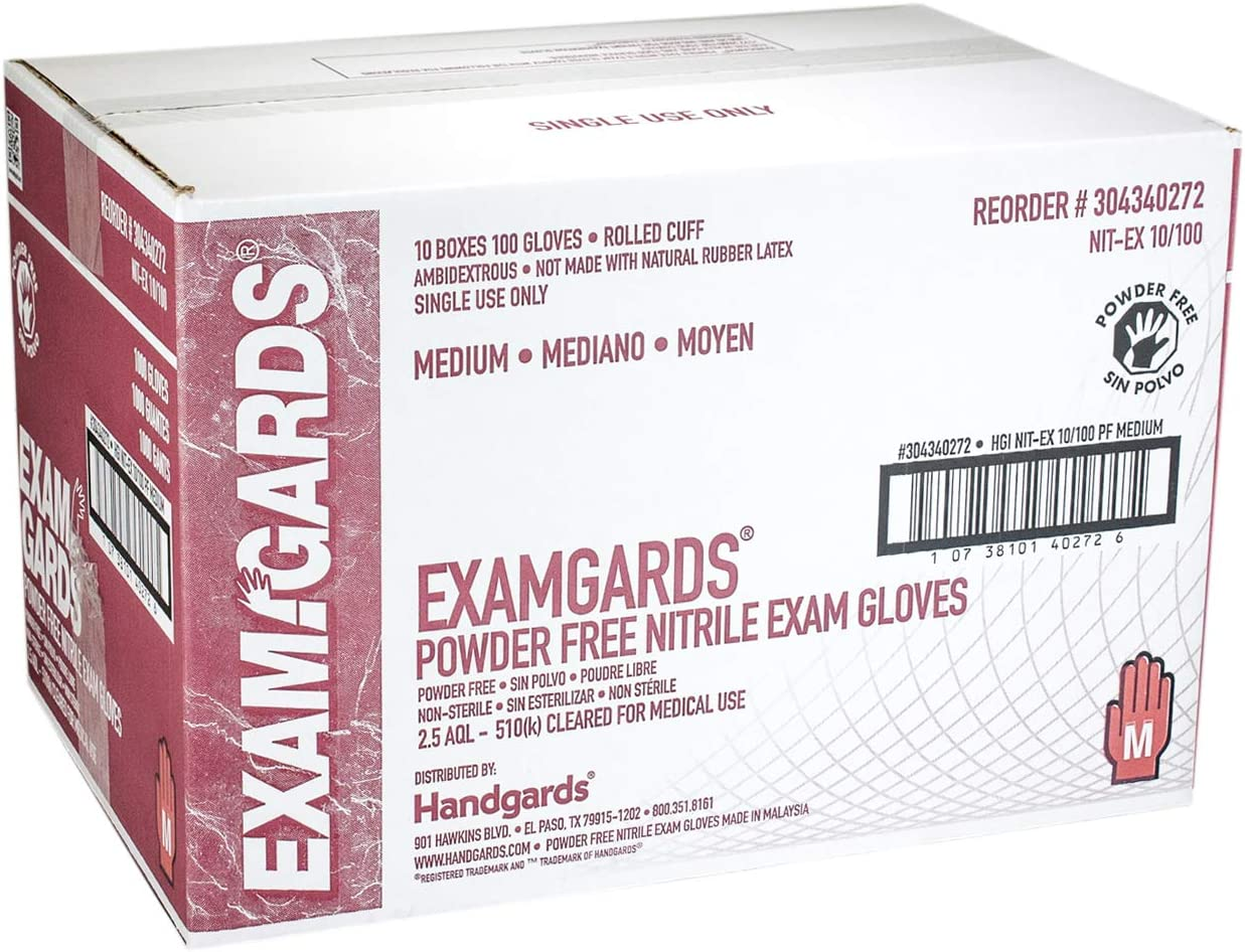 1000 per case. Handgards ExamGards Blue Medium Disposable Nitrile Gloves