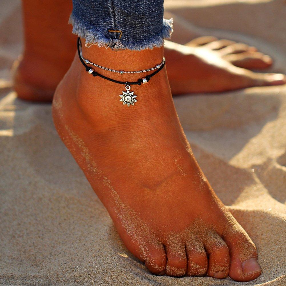 LUOEM Pulsera de la cadena de tobillo Vintage casual Beach Style grabado Elephant y Sun Foot