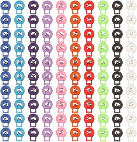 10 Colores Meifyomng 100 Piezas de Resorte de pl/ástico con Bloqueo el/ástico de Ajuste de cord/ón de Ajuste con Tope de cord/ón Redondo