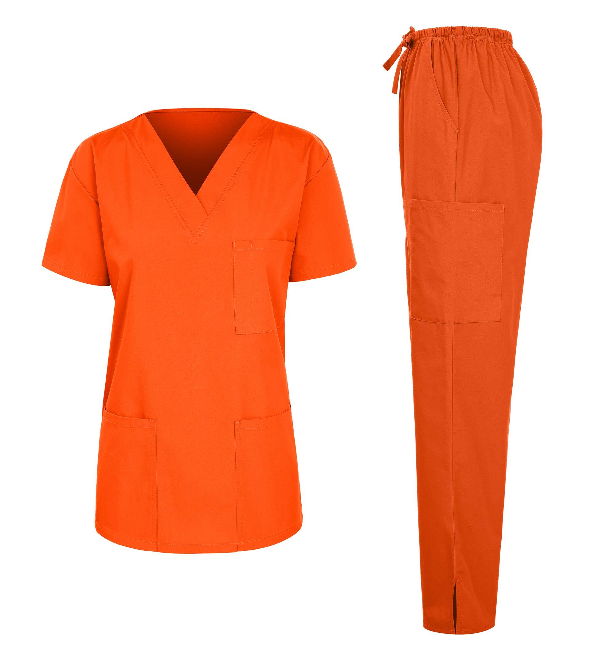 7047 Women's Medical Scrubs Set (V-Neck Top+Drawstring Pant) Orange Medium