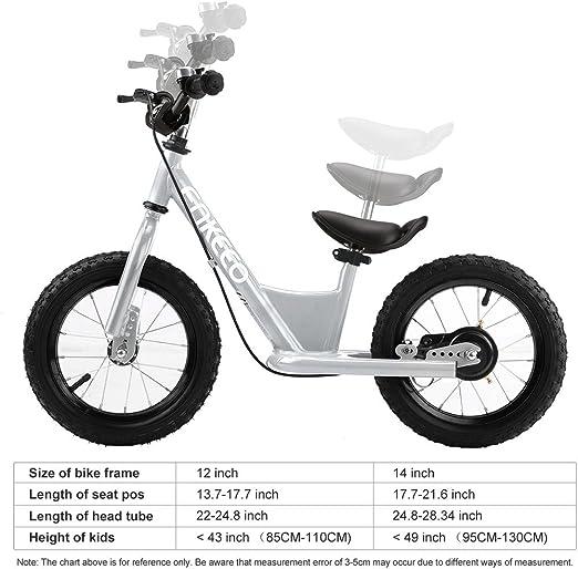 ENKEEO Entrenamiento Transicional en Bicicleta Bicicleta de Equilibrio Asiento Ajustable y Manillares Tapizados para Ni/ños Peque/ños de Menos de 110 cm de Altura 12 Bicicleta sin Pedales