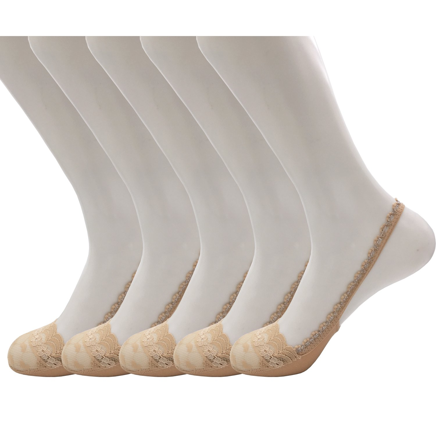 Vraquir Women's Toe Topper Liner Socks Lace Toe Cover Low Cut Hidden Half Socks with Sling Back,5 Pairs