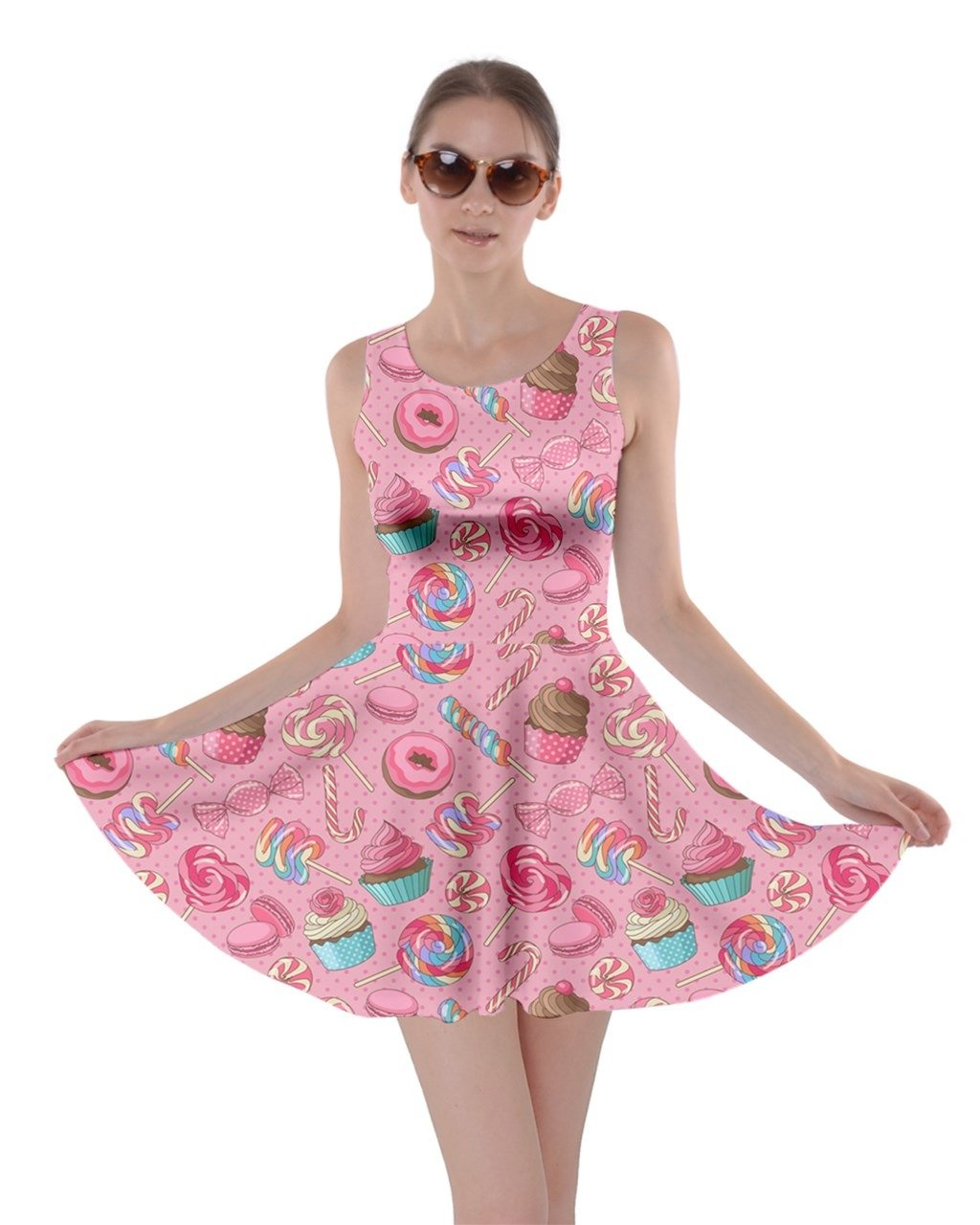 CowCow Womens Pink2 Yummy Colorful Sweet Lollipop Candy Macaroon Cupcake Donut Skater Dress, Pink2 - M by CowCow
