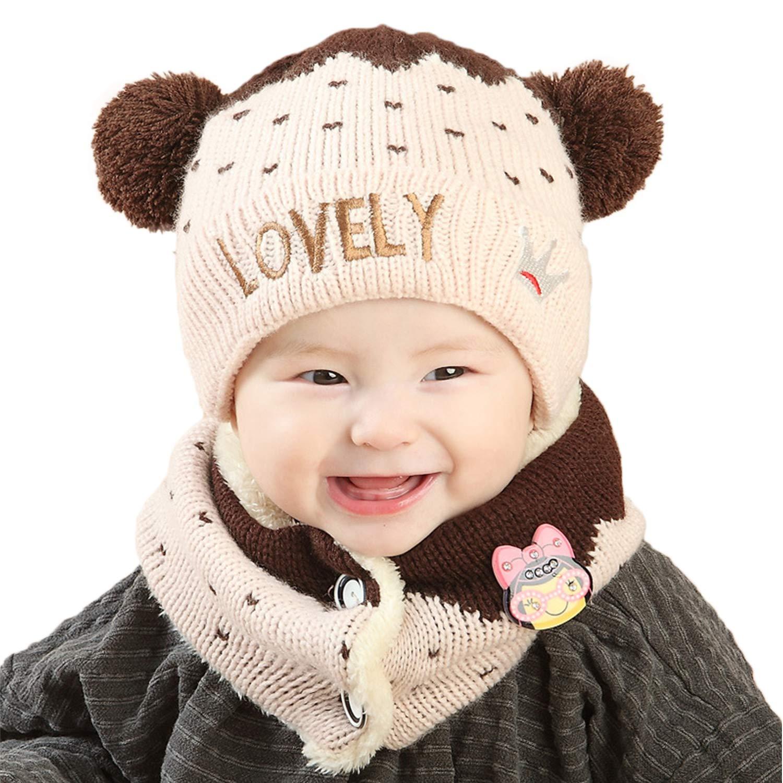 Amazon.com  Unisex Kids Baby Winter Hat Infinity Scarf Set Newborn Cute  Warm Knit Fleece Lined Beanie Hats with Fur Pom Pom Soft Crochet Neck  Warmer Scarf ... 77e6fe07780