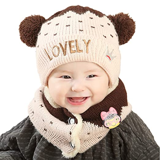 43a973610ef Unisex Kids Baby Winter Hat Infinity Scarf Set Newborn Cute Warm Knit  Fleece Lined Beanie Hats