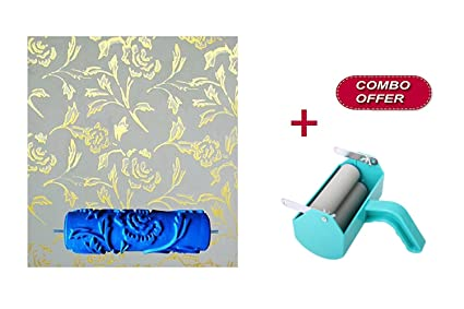 Kayra Decor Single Color 7-Inch Decoration Painting Machine with Silicone  Peony Pattern Blue Rubber Paint Roller DIY Tool