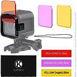 Kit de filtres de plongée pour Go Pro HERO 5 / 4 Session – améliore le rendu des couleurs pour la vidéo et photographie sous marine – couleurs vives, contraste optimisé, vision de nuit (3 filtres (Rouge + Magenta + Jaunes), GoPro HERO 5 / 4 Session)