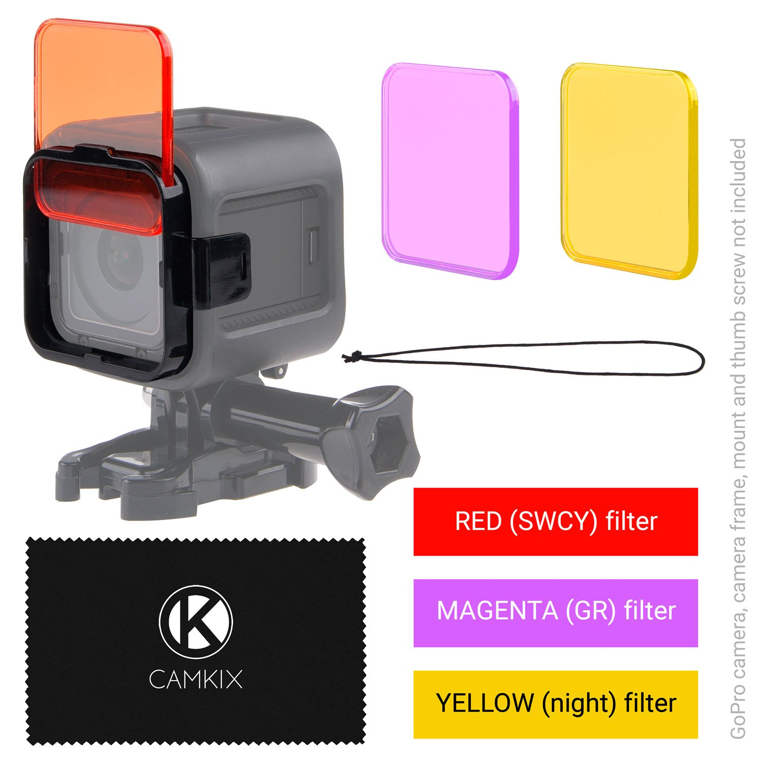 CamKix Diving Lens Filter Kit compatible with GoPro HERO 5 / 4 Session Camera - Enhances Colors for Various Underwater Video and Photography Conditions - Vivid Colors, Improved Contrast, Night Vision D0030-DFK-SES