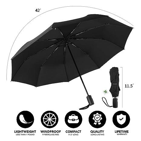 dfb8bad1cc7d PACOXI Rain Umbrella, Windproof Travel Folding Umbrella with Teflon Coating  with Auto Open and Close
