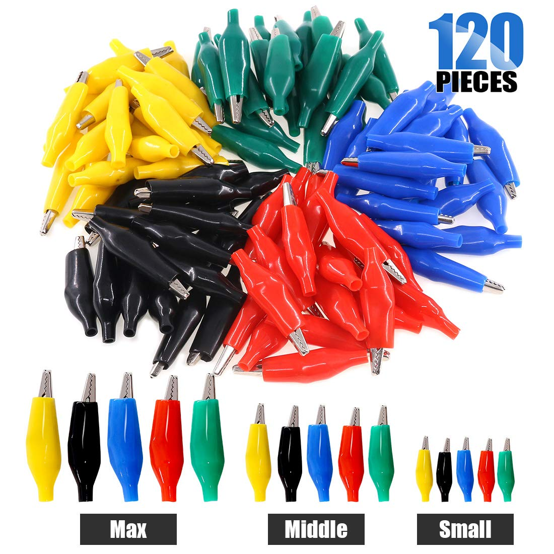 Glarks 120Pcs 28mm 35mm 45mm Alligator Clips Crocodile Electrical Test Clamps Jumper Helper with Protective Insulation Cover (Black, Red, Yellow, Blue, Green) by Glarks