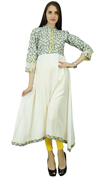 Patrón Phagun Hoja Kurta rayón y algodón Anarkali Kurti vestido de diseñador
