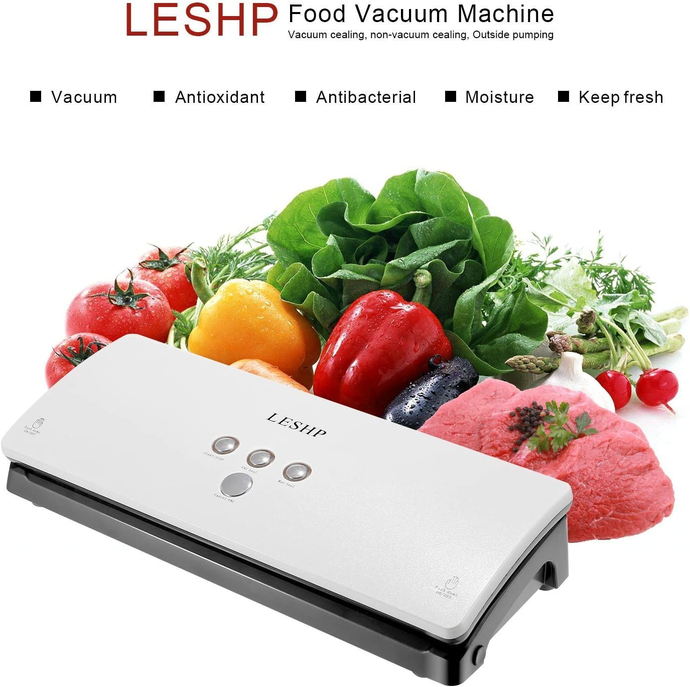 LESHP Portable Automatic Vacuum Sealer Sealing Machine for Household Food Preservation