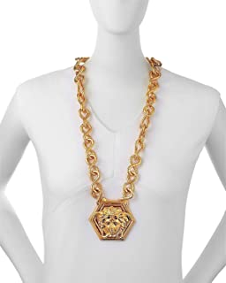 Amazon mens 10k yellow gold yellow gold versace medusa cz versace by haas brothers large medusa head pendant necklace one size gold aloadofball Images