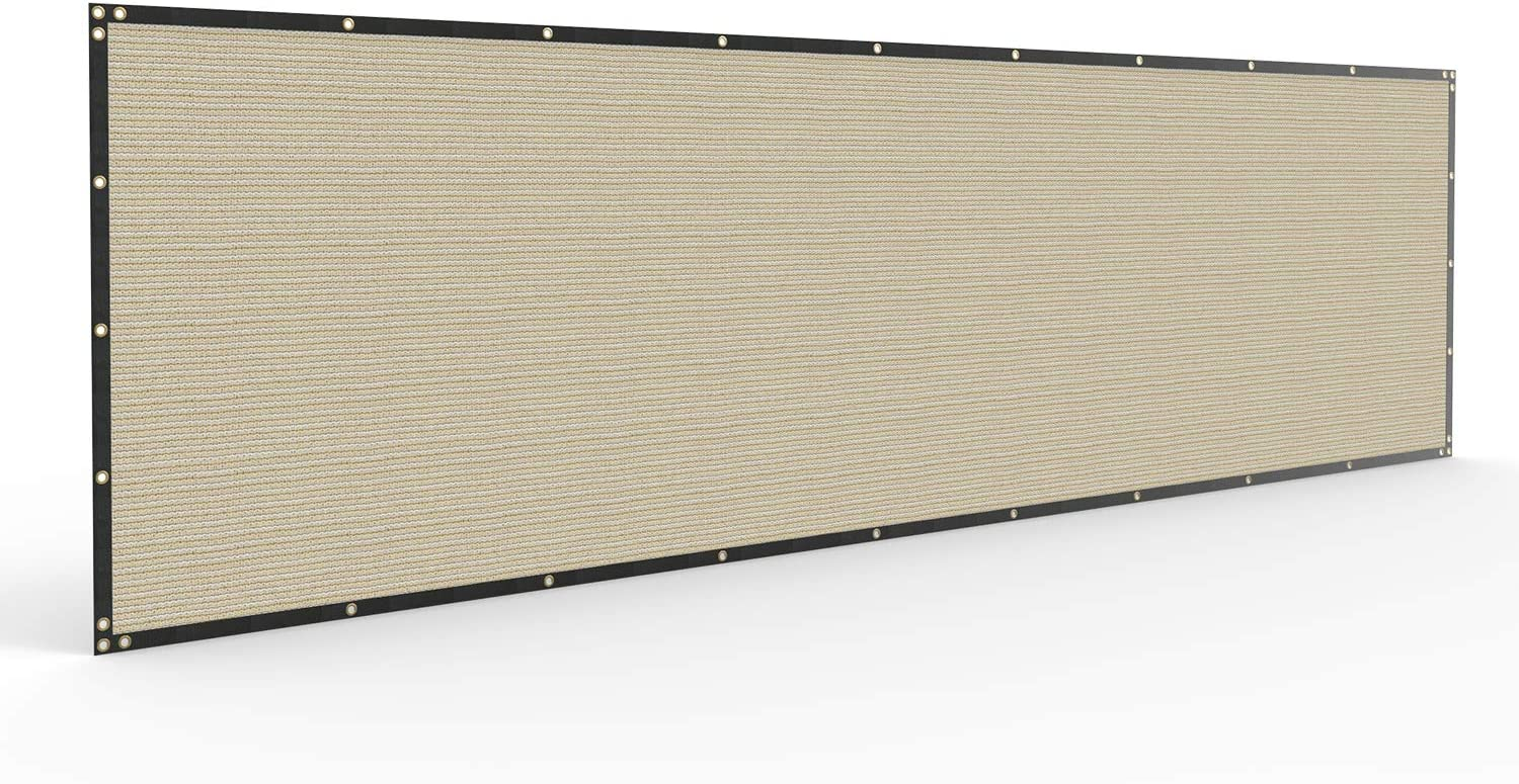 4' x 25' Privacy Fence Screen in Beige Tan with Brass Grommet 85% Blockage Windscreen Outdoor Mesh Fencing Cover Netting 150GSM Fabric - Custom