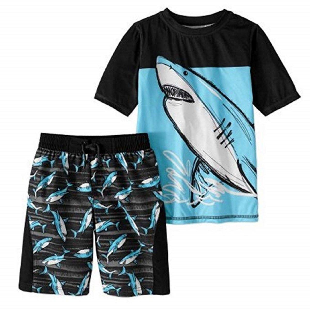 Boy's 2 Piece Rashguard Swim Set (X-Large 14/16, Blue Shark)
