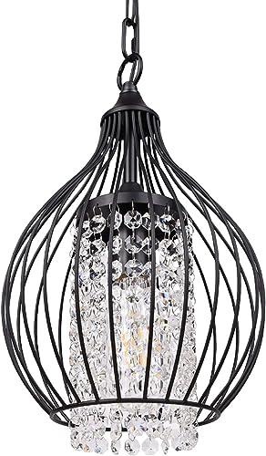 Gaze Modern Sparkling Crystal Chandelier Lighting Black Moroccan Wire Cage Light Fixture Adjustable Island Pendant Light