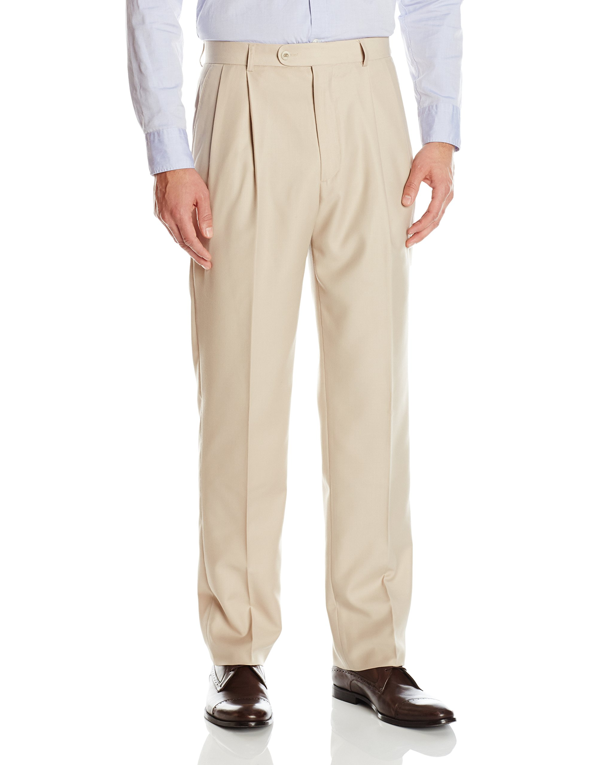 Linea Naturale Men's Pleated Travel Genius Microfiber Trouser, Tan, 33W