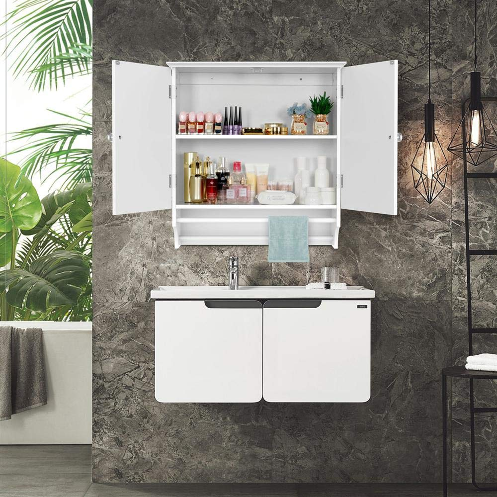Topeakmart Bathroom Kitchen Wall Storage Cabinet with Double Doors Wall Mounted Medicine Cabinet Hanging Organizer White