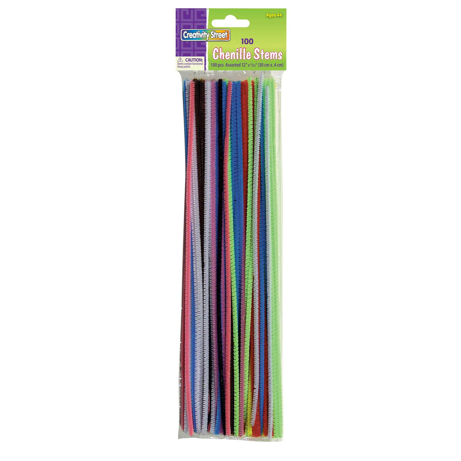 100 Pieces Chenille Kraft CK-711201 Assorted Colors Stems 12.2 Length 0.5 Height 3 Wide