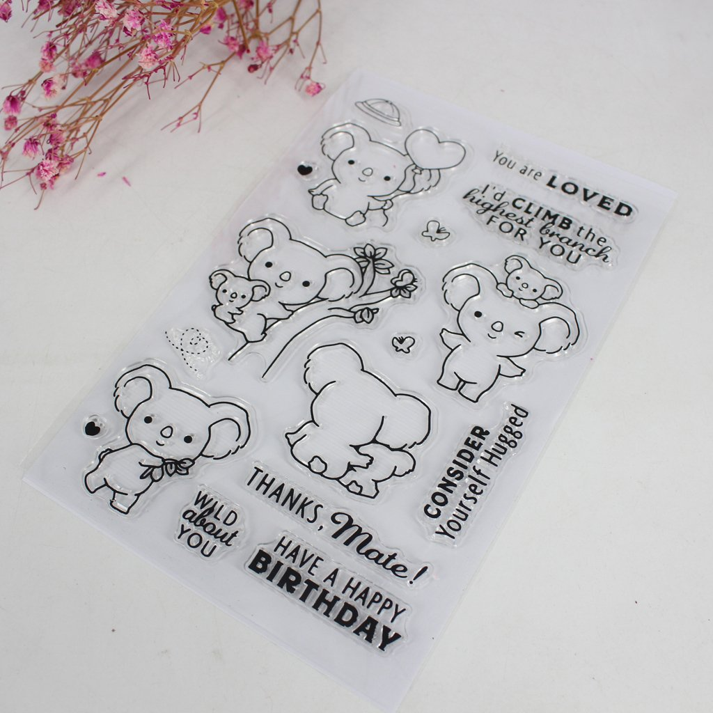 Numkuda Koala Transparent Silicone Clear Rubber Stamp Cling Diary DIY Art Scrapbooking