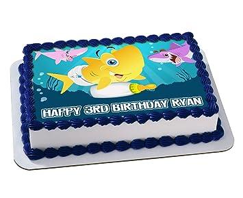 Birthday Cake Images Baby ~ Baby shark quarter sheet edible photo birthday cake topper