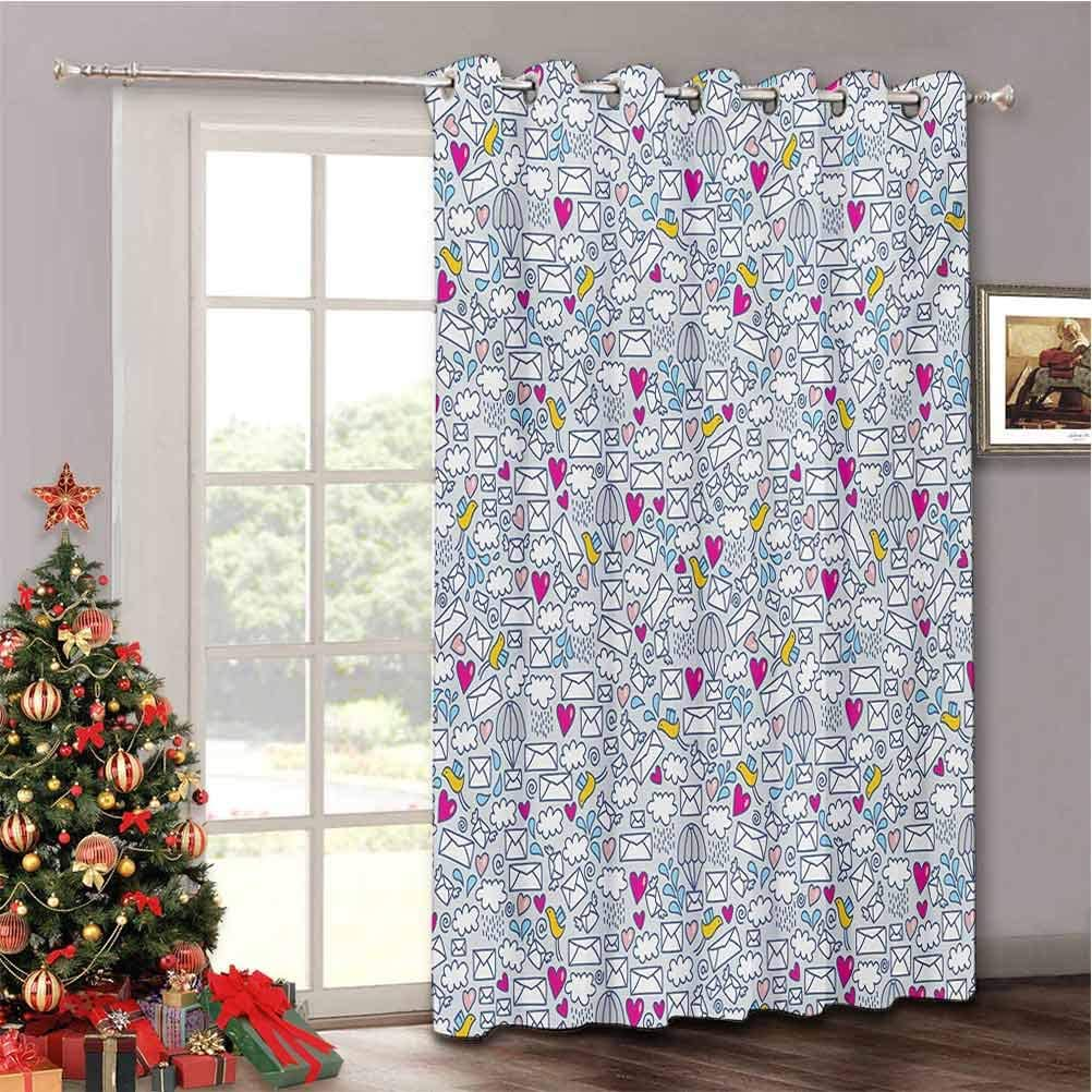 Aishare Store Doodle Blackout Patio Door Curtain Drapes for Living Room Sliding Door W52 x L96 Inches Message Posting Theme Envelopes Mails Carrier Pigeons Pen Pals Ancient Communication