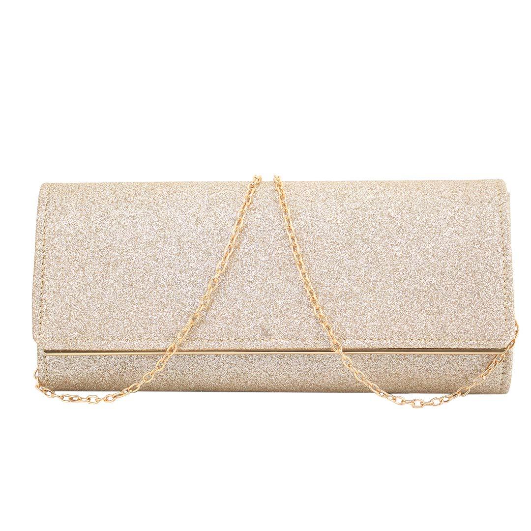 gold4 Liliam Women Glitter Shoulder Crossbody Evening Bridal Bag Clutch Handbag Purse for Wedding Party Prom