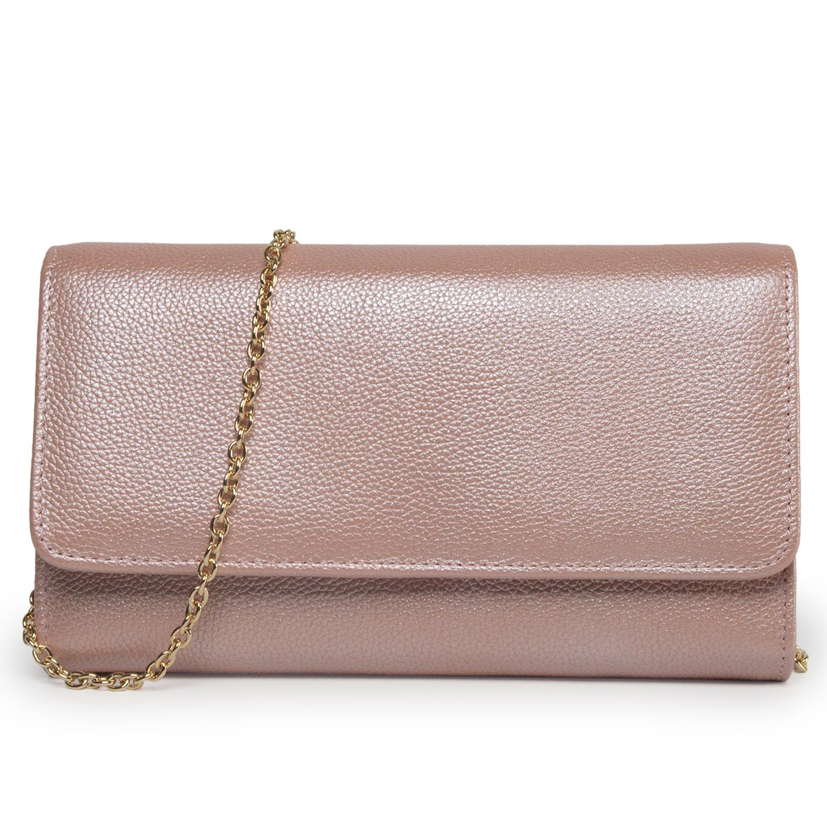 Women RFID Leather Trifold Wallet Cossbody Purse Clutch with Chain Strap (Rose Gold) by Bveyzi (Image #2)