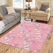 Pinbeam Area Rug Purple Girl Pretty Pink Micro Boho Butterfly Floral Home Decor Floor Rug 3' x 5' Carpet