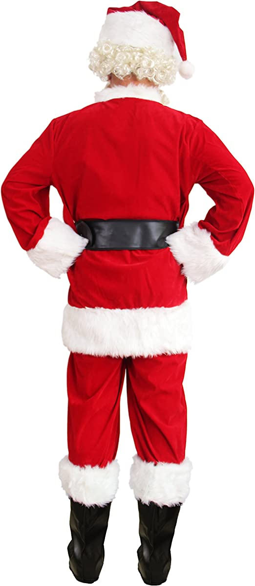 WHOBUY Mens Deluxe Santa Suit 10pc. Christmas Adult Santa Claus